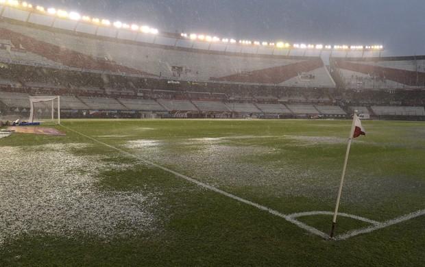 Monumental com gramado prejudicado com o temporal - River Plate