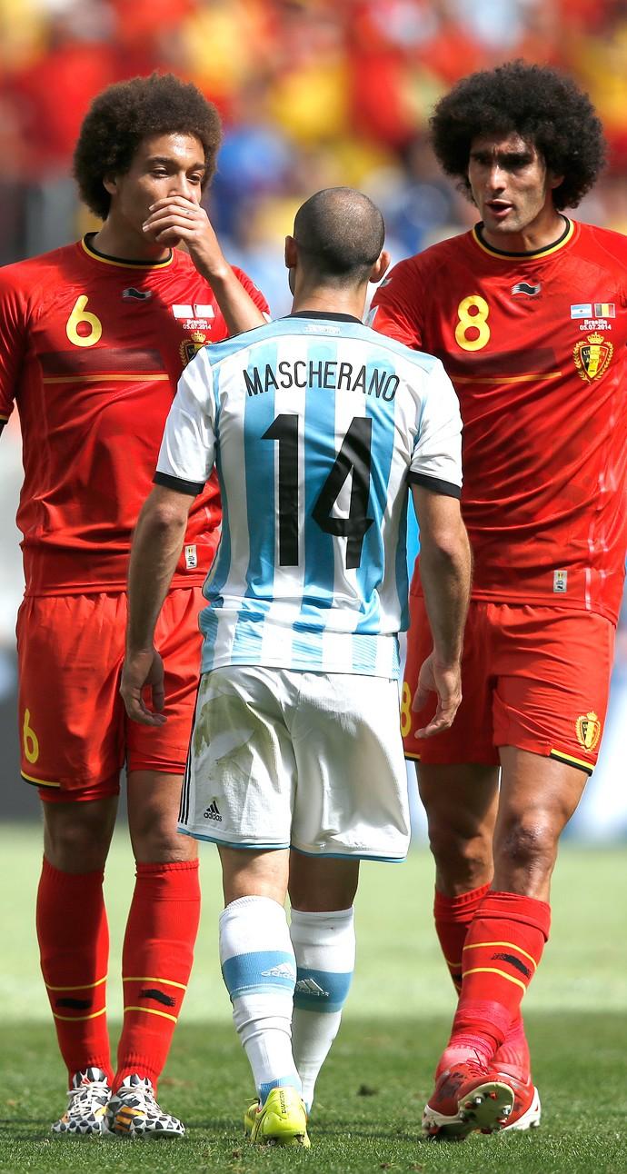 Mascherano e Fellaini, Argentina e Bélgica (Foto: Agência AFP )