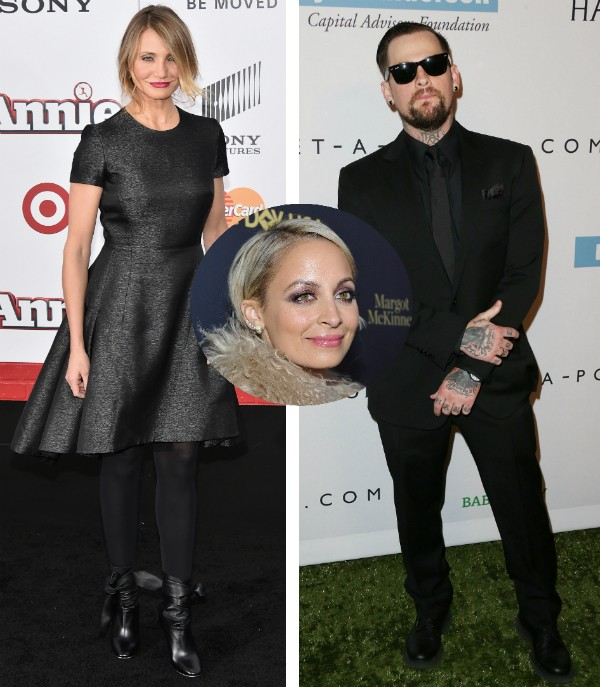 Cameron Diaz, Nicole Richie e Benji Madden (Foto: Getty Images)