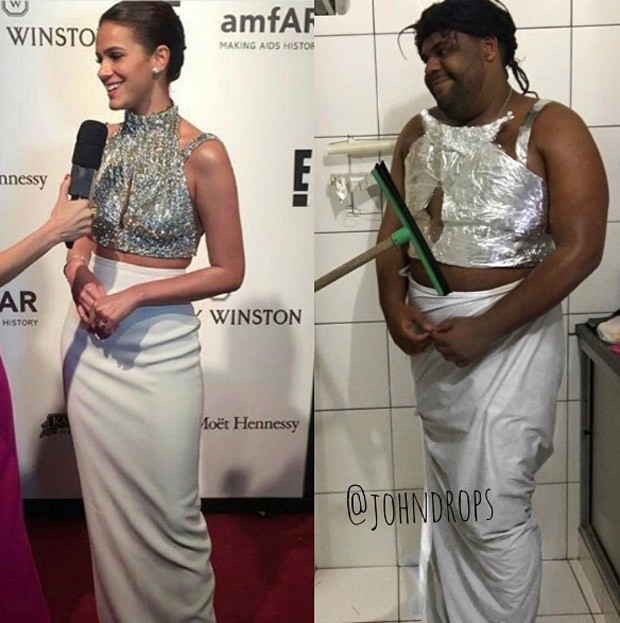 John Drops imita look de Bruna Marquezine no baile da amfAR (Foto: Reprodução)