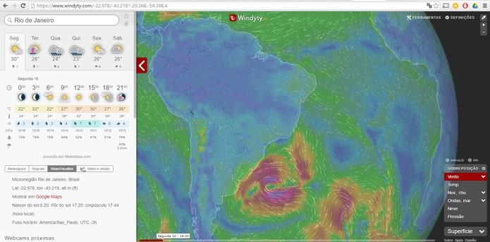 Confira informações meteorológicas completas pelo Windyty (Foto: Reprodução/Barbara Mannara)
