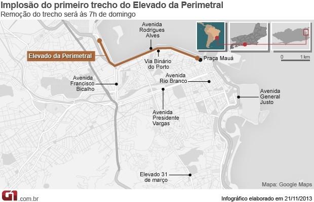 Mapa de interdições para a implosão da Perimetral (Foto: Editoria de Arte/ G1)