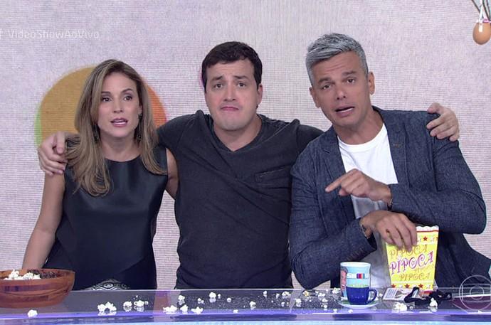 Rafael Cortez com Otaviano Costa e Maíra  (Foto: TV Globo)