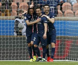 Cavani, Lavezzi e Pastore, PSG x Lille (Foto: Agência Reuters)
