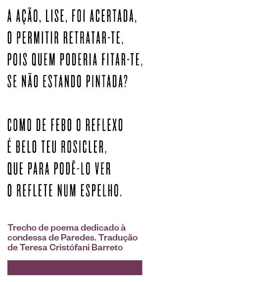 Trecho de poema dedicado à condessa de Paredes. Tradução de Teresa Cristófani Barreto (Foto: Época)