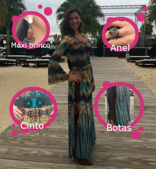 Camille escolheu vestido estampado  (Foto: RBS TV/Divulgação)