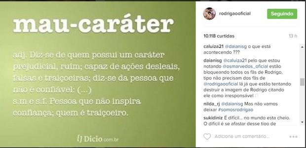 Fãs de Rodrigão reclamam que estão sendo bloqueados na página do projeto Os Marvados (Foto: Reprodução/Instagram)