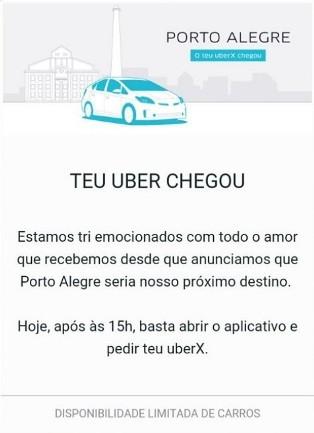 Uber começa a operar em Porto Alegre (Foto: Reprodução/App Uber)