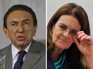 O ministro de Minas e Energia, Edison Lobão (esq.), e a presidente da Petrobras, Graça Foster (dir.) (Foto: Antonio Cruz/ABr)