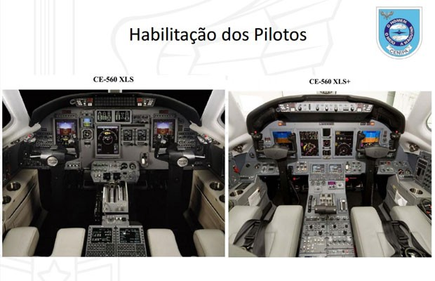 Paineis do modelo para o qual os pilotos tinham habilitação (esq.) e do modelo que conduziam (dir.)  (Foto: Reprodução / Cenipa)