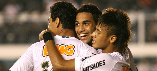 Alan Kardec Neymar Ganso gol Santos (Foto: Guilherme  Dionízio / Futurapress)