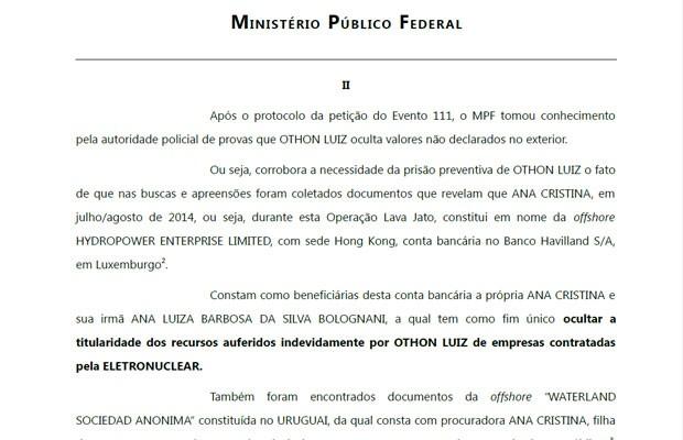 Trecho de documento do Ministério Público Federal que fundamentou o pedido de prisão preventiva de Othon Luiz Pinheiro da Silva (Foto: Reprodução)