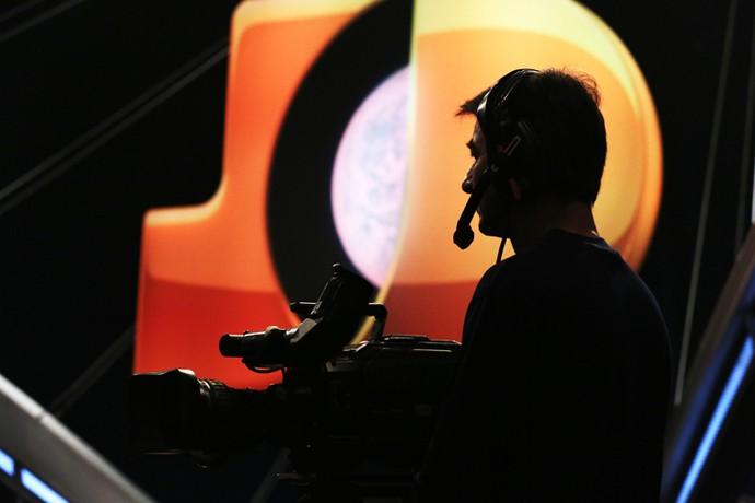 Câmera durante a gravação do 'Programa do Jô' (Foto: Carol Caminha/Gshow)