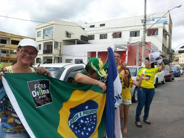 Protesto contra Dilma em São Gabriel da Palha, no Norte do Espírito Santo (Foto: Raquel Lopes/ A Gazeta)