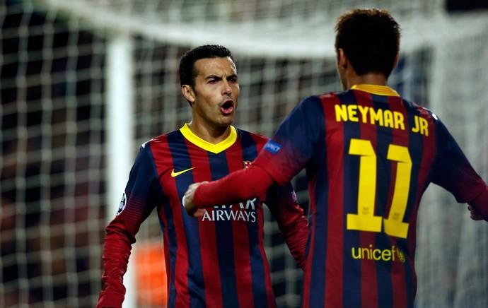 Neymar e Pedro, Barcelona x Celtic (Foto: Reutes)