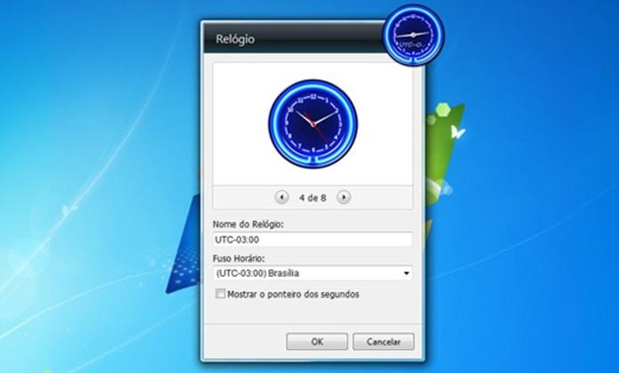 Gadget de relógio pode ser fixado na área de trabalho (Foto: Divulgação/Microsoft)