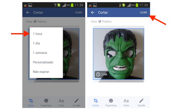 Definindo um foto de perfil temporária no Facebook pelo Android (Foto: Reprodução/Marvin Costa)