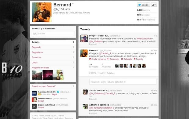 Bernard e Tardelli trocam mensagens pelo Twitter (Foto: Reprodução Twitter)