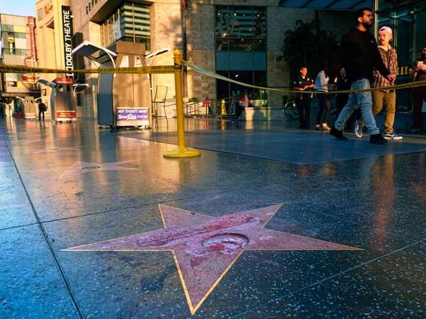 Estrela de Donald Trump na Calçada da Fama de Hollywood foi atacada com martelo  (Foto: Richard Vogel/AP)