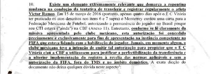 Internacional Inter STJD documentos Victor Ramos Vitória Inter (Foto: Reprodução)