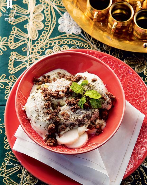 Quibe cozido em iogurte, receita do restaurante de Talal Al-Tinaw (Foto: Mário Rodrigues/Editora Globo)