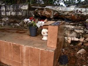 Muro do cemitério em Ribeirão Bonito caiu há um ano (Foto: Felipe Lazzarotto/EPTV)