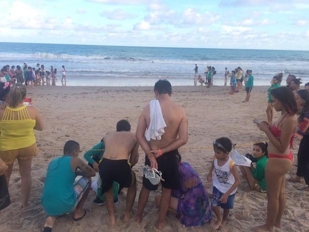 Muitas pessoas acompanharam a soltura das tartarugas no Mirante da Sereia (Foto: Carolina Sanches/G1)