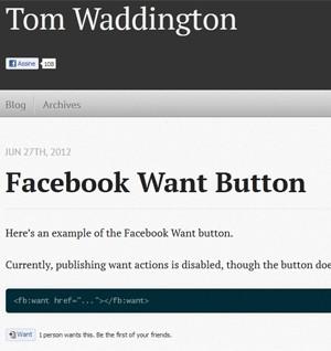 """Tom Waddington demonstra o botão """"Want"""" (""""Quero"""", em inglês) (Foto: Reprodução)"""