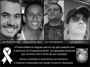 Comando da Polícia Militar lamenta morte dos quatros militares em acidente (Foto: Reprodução/Polícia Militar)