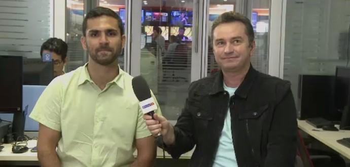 Daniel Leal ao lado do narrador Rembrandt Júnior (Foto: Reprodução SporTV)