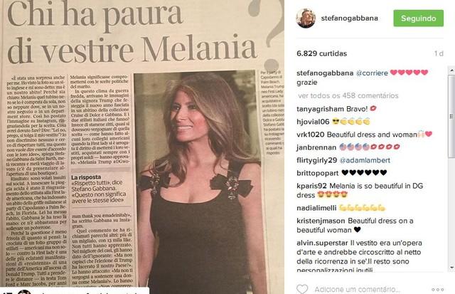 Stefano Gabbana comemora look Dolce e Gabbana usado por Melania Trump (Foto: Reprodução)