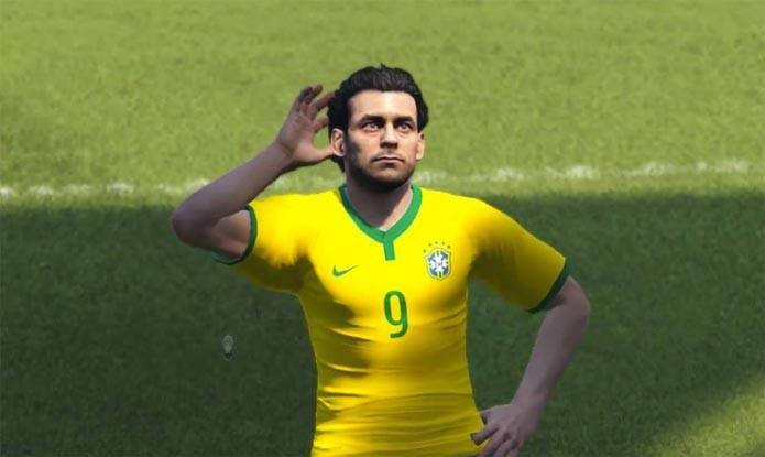 Fred é destaque em partida entre Brasil e Alemanha no PES 2015 (Foto: Reprodução)