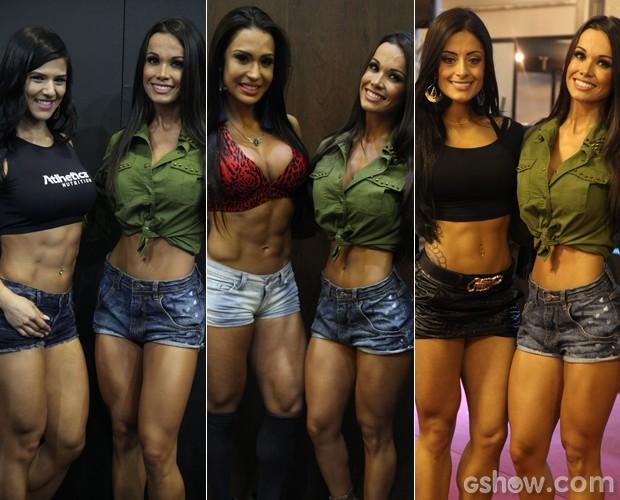 Fernanda D'avila encontrou várias feras do mundo fitness, como Eva Andressa, Gracyanne e a amiga Aline Riscado (Foto: Pedro Curi / TV Globo)