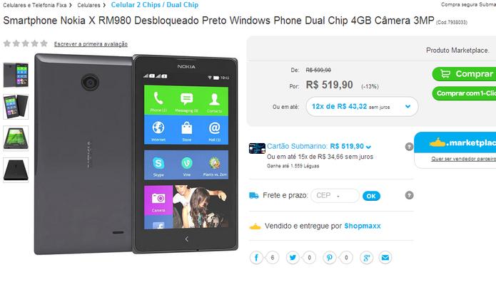 Nokia X, com Android, aparece em site brasileiro por R$ 520 e listado com sistema errado (Foto: Reprodução/Submarino) (Foto: Nokia X, com Android, aparece em site brasileiro por R$ 520 e listado com sistema errado (Foto: Reprodução/Submarino))
