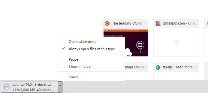 Chrome permite abrir arquivos automaticamente (Foto: Reprodução/Chrome)