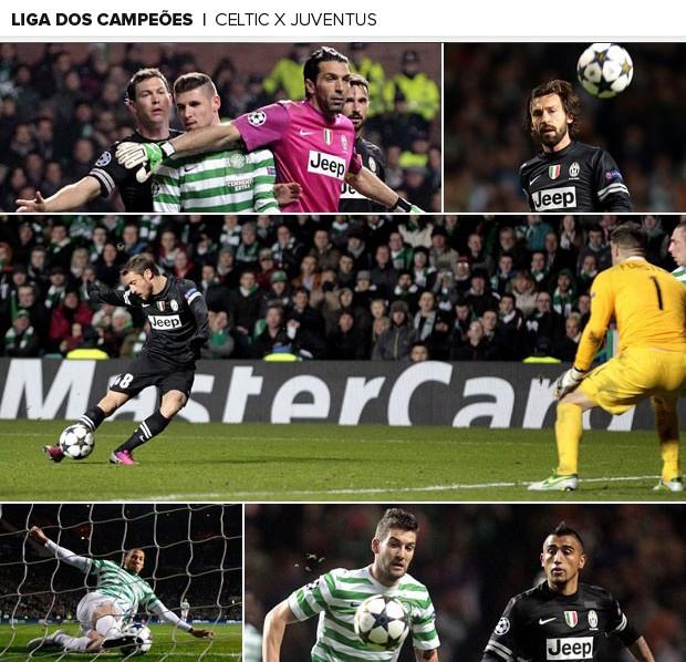Mosaico Celtic x Juventus (Foto: Editoria de Arte/Globoesporte.com)