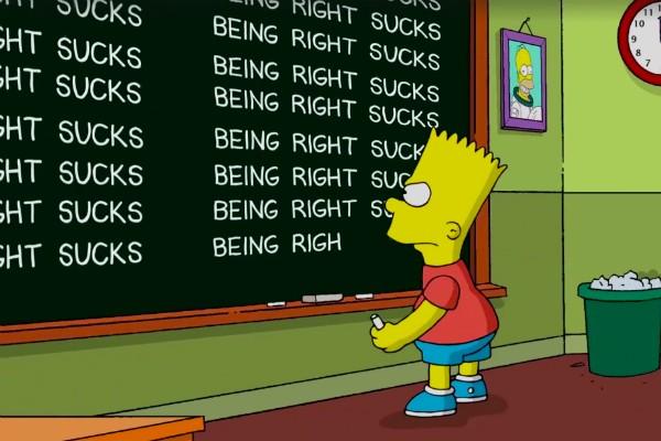 """""""Acertar é uma droga"""", escreve Bart Simpson em referência à vitória de Donald Trump (Foto: Reprodução)"""
