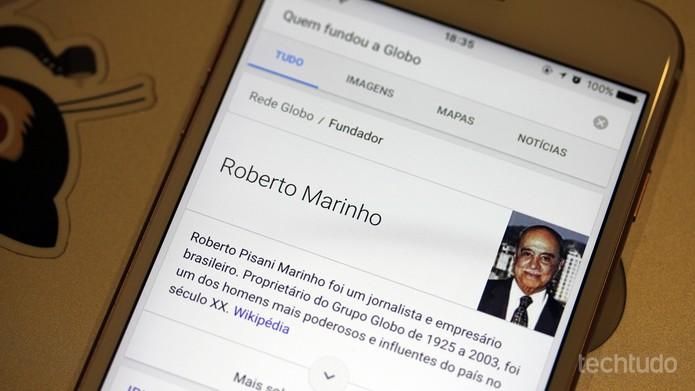 Google Now traz informações bibliográficas e enciclopédicas (Foto: Thássius Veloso/TechTudo)