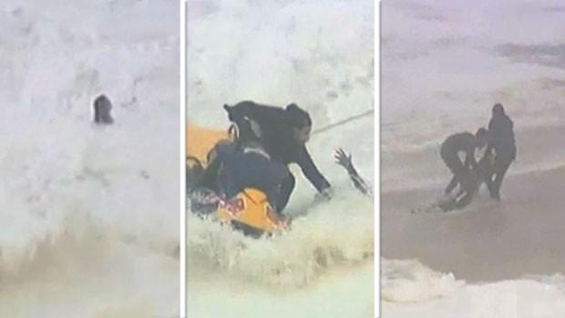 montagem FRAME Maya Gabeira acidente surfe (Foto: Editoria de Arte)