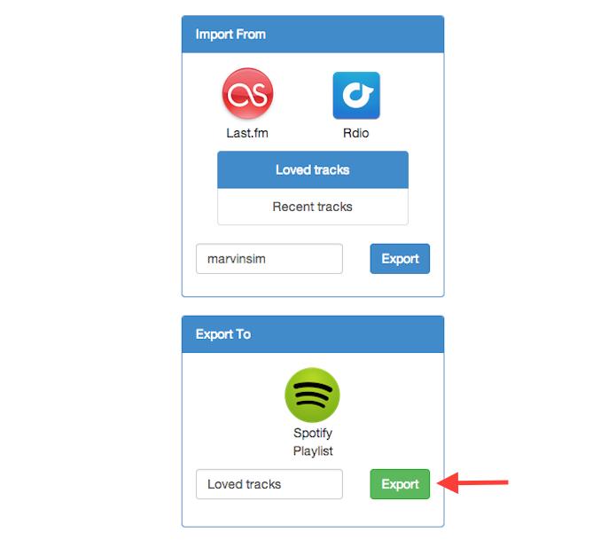 Exportando uma playlist do Last.fm para o Spotify com o serviço online Playlist Exchance (Foto: Reprodução/Marvin Costa)