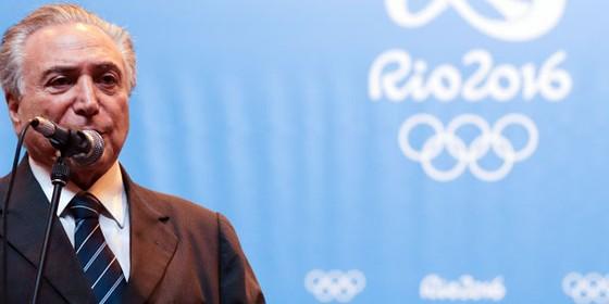 O presidente interino Michel Temer durante coletiva no Parque Olímpico (Foto:  Luciano Belford/Frame Photo/ Agência O Globo)