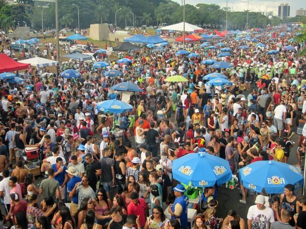 Foliões lotam Eixão Sul, na altura da quadra 106, no bloco Raparigueiros (Foto: Jéssica Nascimento/G1)