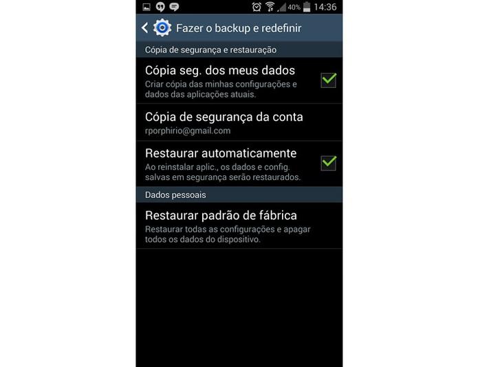Opção para fazer o reset do Galaxy S4 (Foto: Reprodução)