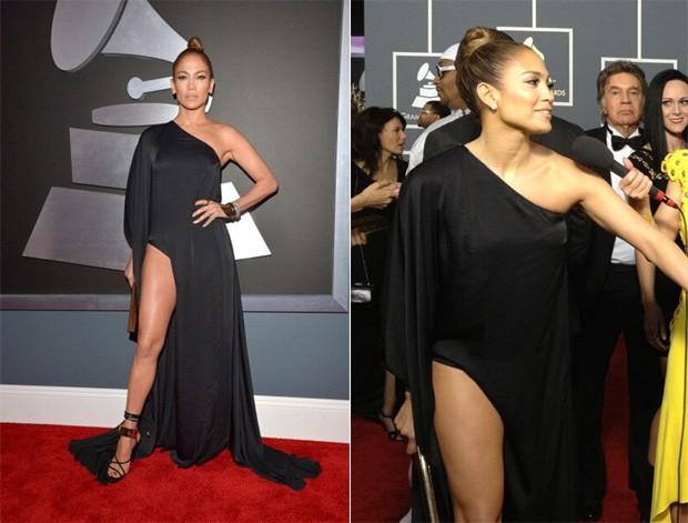 Close na fenda do vestido de J.Lo (Foto: Reprodução/Twitter)