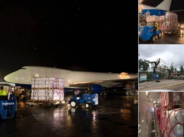 Avião do sheik de Dubai é carregado com mantimentos e suprimentos para o Haiti (Foto: Reprodução Twitter)