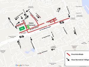 Entorno do Palácio do Itamaraty ficará bloqueado das 6h às 12h para treinamento (Foto: Divulgação/CET-Rio)