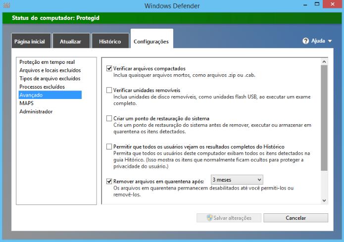Configurações avançadas do Windows Defender (Foto: Reprodução/Helito Bijora)