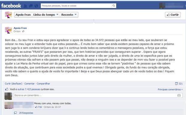 Garota de vídeo de sexo pede 'lei Maria da Penha Virtual', em Goiânia (Foto: Reprodução/Facebook)