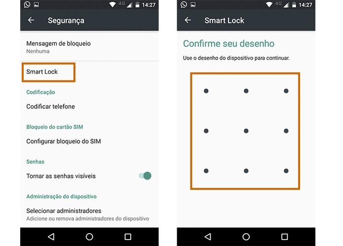 Acesse o Smart Lock e confirme com seu código no Moto G 3 (Foto: Reprodução/Barbara Mannara)