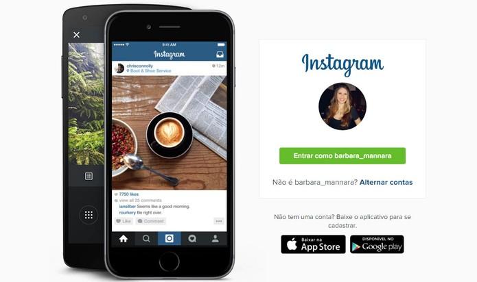 Instagram oferece plataforma para acessar o perfil pelo computador (Foto: Reprodução/Barbara Mannara)